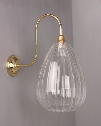 Fritz Fryer IP44 rated bathroom swan neck wellington wall light, polished brass