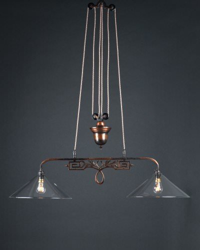 gorgeous 1930s oxidised copper double rise and fall