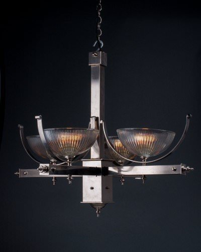 Art Deco silver plate light fitting with prismatic glass shades, lit