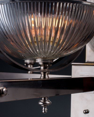 Art Deco silver plate light fitting with prismatic glass shades, close up image