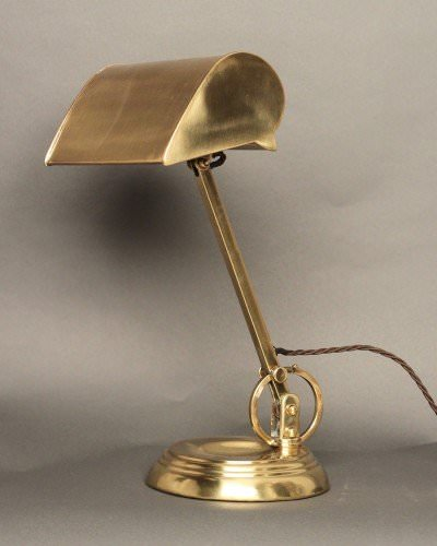 Brass 1920's Bankers Table Lamp, Antique Lighting