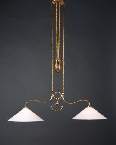 Brass Double Rise And Fall By Faraday And Son With White Handblown Glass Hay Coolie Shades, Antique Lighting