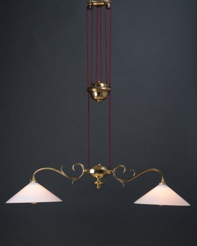 Brass edwardian double rise and fall by faraday and son with white handblown glass shades