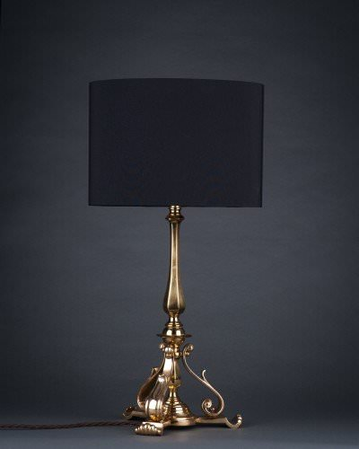Tri-Footed Brass Table Lamp In The Pullman Style, Antique Lighting