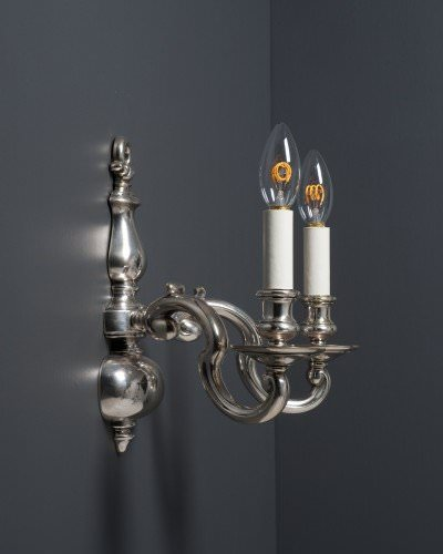 Pair Of Silver Plate Gadrooned Dutch Wall Sconces, Antique Lighting