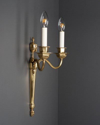Pair Of English Gilt Candle Sconces, Antique Lighting