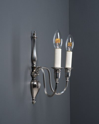 pair of silver plate candle sconces by Faraday and Son