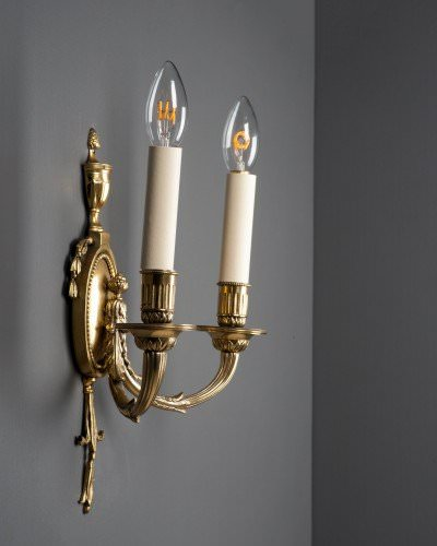 Set of 3 Oval backed double branch candle sconces