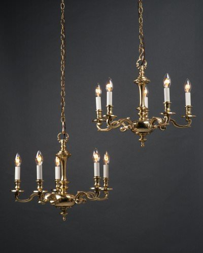 pair of 5 branch brass chandeliers by GEC