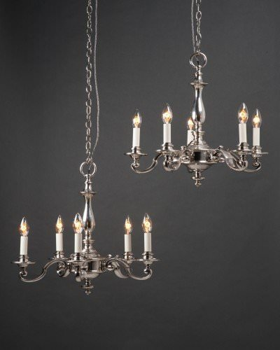 Pair of Silver Plate 5 branch chandeliers by GEC
