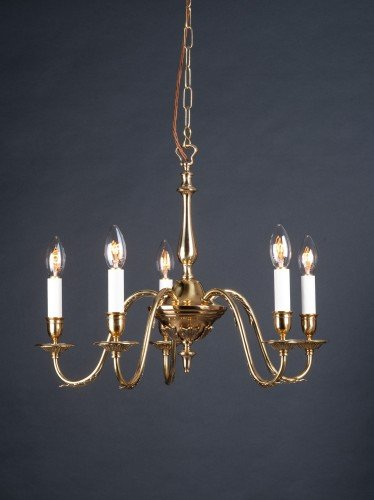 five branch brass chandelier with leaf details on