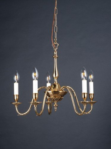 five branch brass chandelier with leaf details off