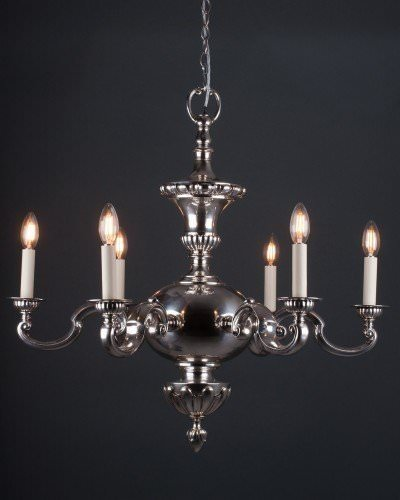 Superb quality antique chandelier, silver plate with 6 arms