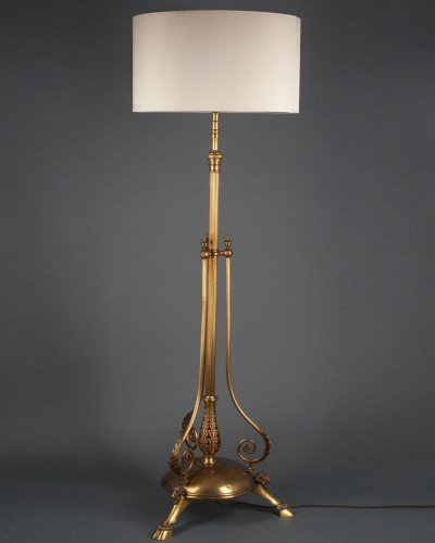 Brass Edwardian Telescopic Trifooted Ramshead Standard Lamp, Antique Lighting