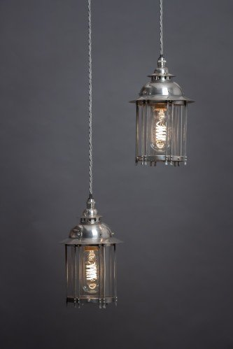 Fritz Fryer Restored Antique Pair Of Lanterns. Arts & Crafts, Silver plated. Two Small Lanterns