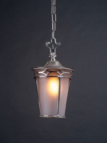 Osler Lantern in silver plate with frosted glass lights on