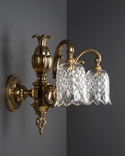 Impressive double arm antique wall lights with cut glass crystal shades