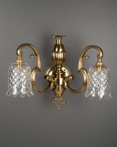 Impressive double arm antique wall lights with cut glass crystal large