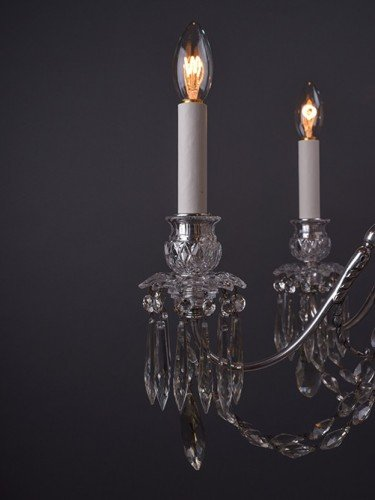 Osler crystal chandelier with 6 branches decorated with hand pinned crystal pan