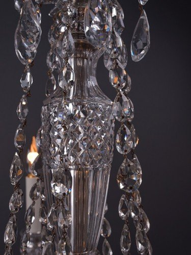Osler crystal chandelier with 6 branches decorated with hand pinned crystal stem