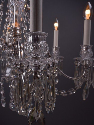 Osler crystal chandelier with 6 branches decorated with hand pinned crystal pan detail