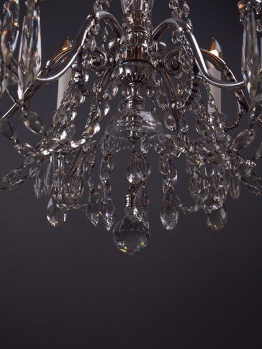 Osler crystal chandelier with 6 branches decorated with hand pinned crystal finial