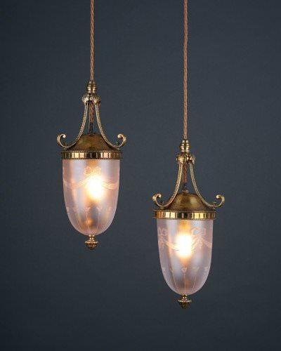 Wheel Etched Satin Glass Pendants (C.1900, Pair), Antique Lighting