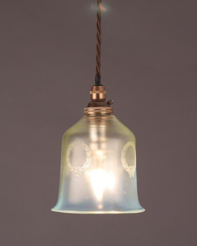 Vaseline Glass Pendant Ceiling Light With Laurel Wreath Motif, Antique Lighting