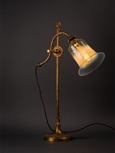 Antique Adjustable Table Lamp With Antique Vaseline Shade