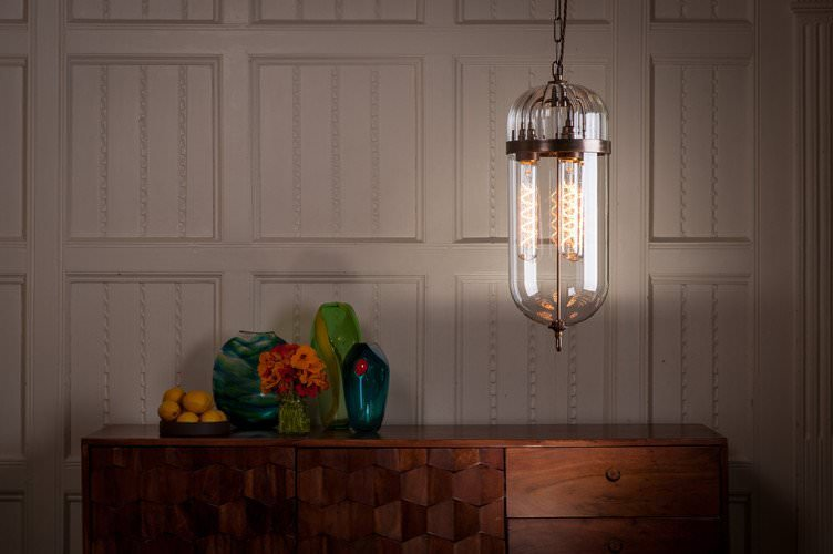 Aston lantern pendant light with antique brass metalwork and ribbed glass top with clear glass bottom