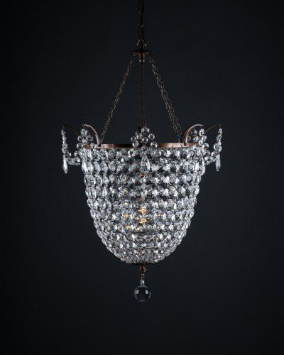 Brampton Crystal And Brass Chandelier,  Vintage Lighting