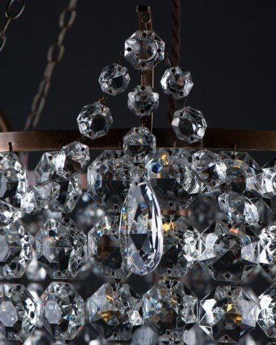 Close up view of crystal chandelier, The Brampton, hand made by Fritz Fryer