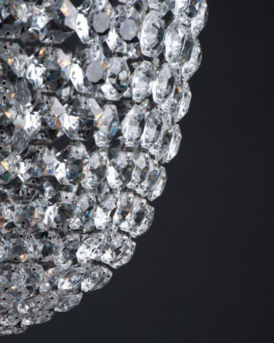 Close up of hand made crystal bag chandelier