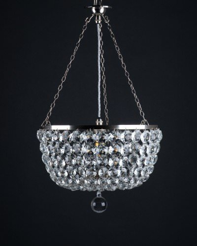 Hand made, large crystal bag chandelier with glass filial
