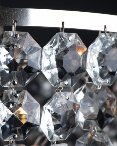 Close up of hand made, large crystal bag chandelier with glass filial