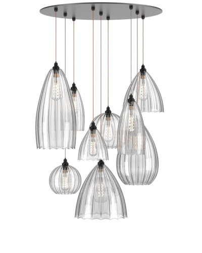 multi pendant cluster chandelier various shades Herefordshire ribbed