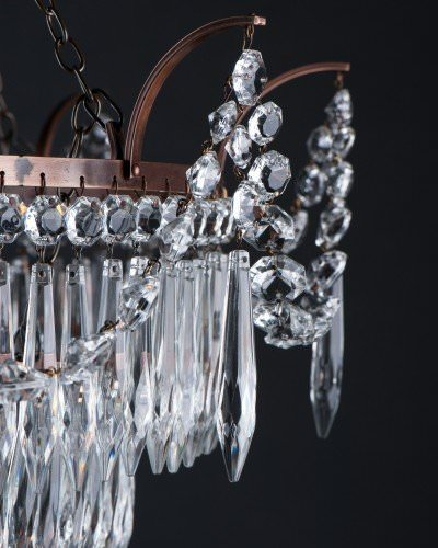 marcle crystal chandelier in antique brass xl size close up