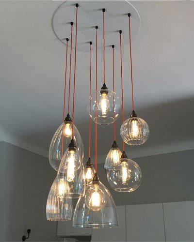 Clear Glass Cluster Globe Pendant Ceiling Light, The Herefordshire Mixed Cluster Chandelier