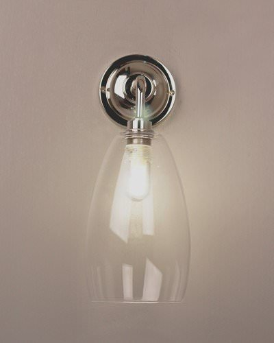 upton clear glass contemporary bathroom wall light in Nickel ip44