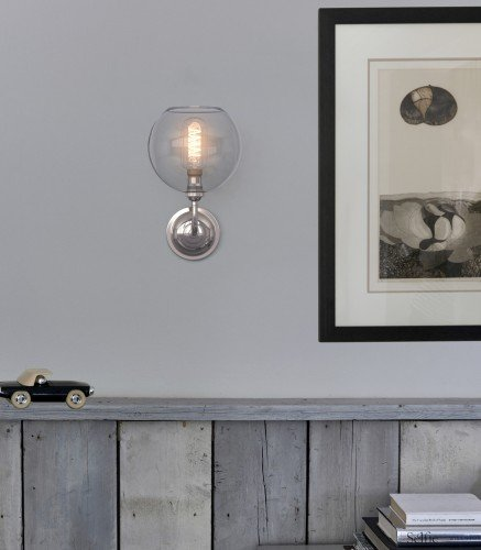 Contemporary Hereford Wall Light with Glass Globe Shade