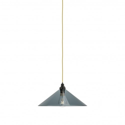 Smoky glass coolie pendant light, the Hay with bronze metal finish and celtic gold flex