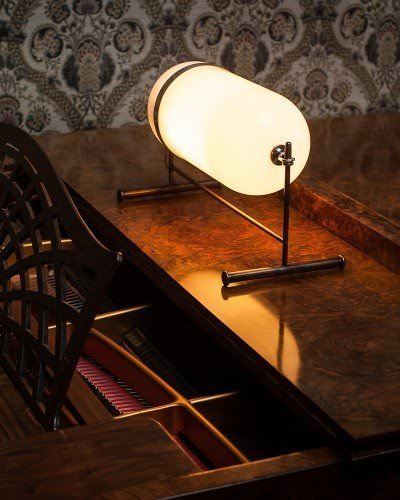 The Aston Table Lamp With White Glass, Industrial Retro Lighting