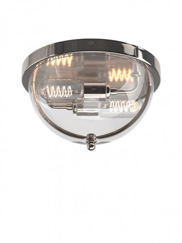 Flush to ceiling Grafton globe wall light in Nickel with Clear Glass