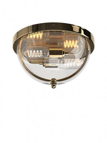 Flush to ceiling Grafton globe wall light in Polished Brass with Clear Glass