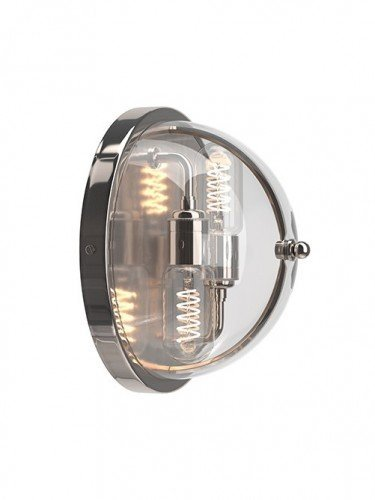 Flush to wall Grafton globe wall light in Nickel with Clear Glass