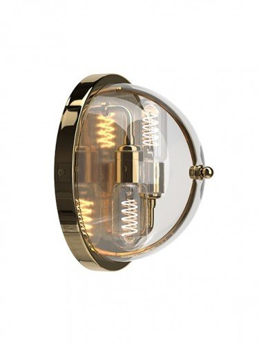Flush to wall Grafton globe wall light in Polished Brass with Clear Glass