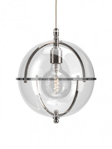 Clear glass Grafton globe pendant light In Nickel with Clear top and Clear bottom