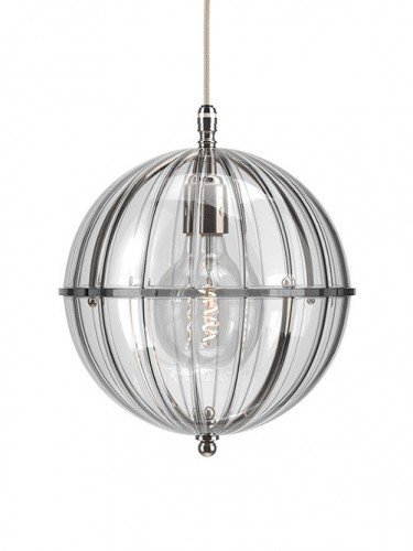 Clear glass Grafton globe pendant light In Nickel with Ribbed top and Ribbed bottom