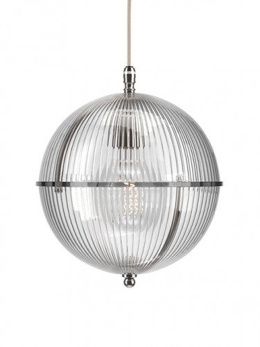 Clear glass Grafton globe pendant light In Nickel with Skinny Ribbed top and Skinny Ribbed bottom