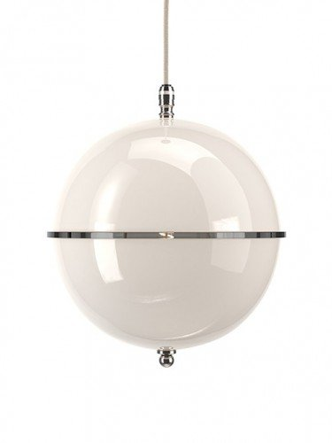 Clear glass Grafton globe pendant light In Nickel with White top and White bottom